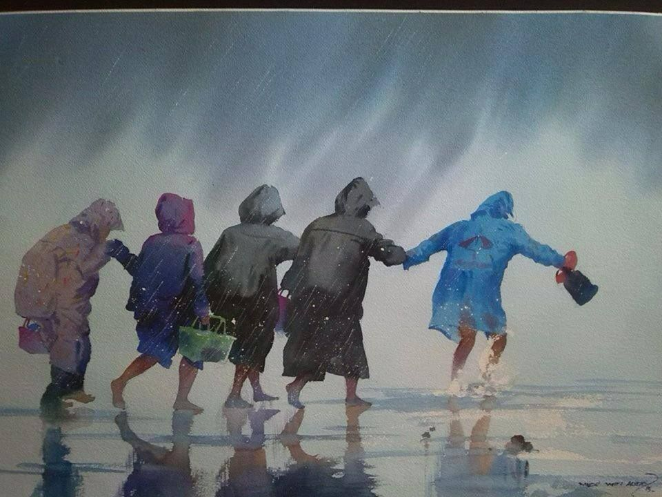 By Myoe Win Aung Landscape Art Painting Painting People Figure