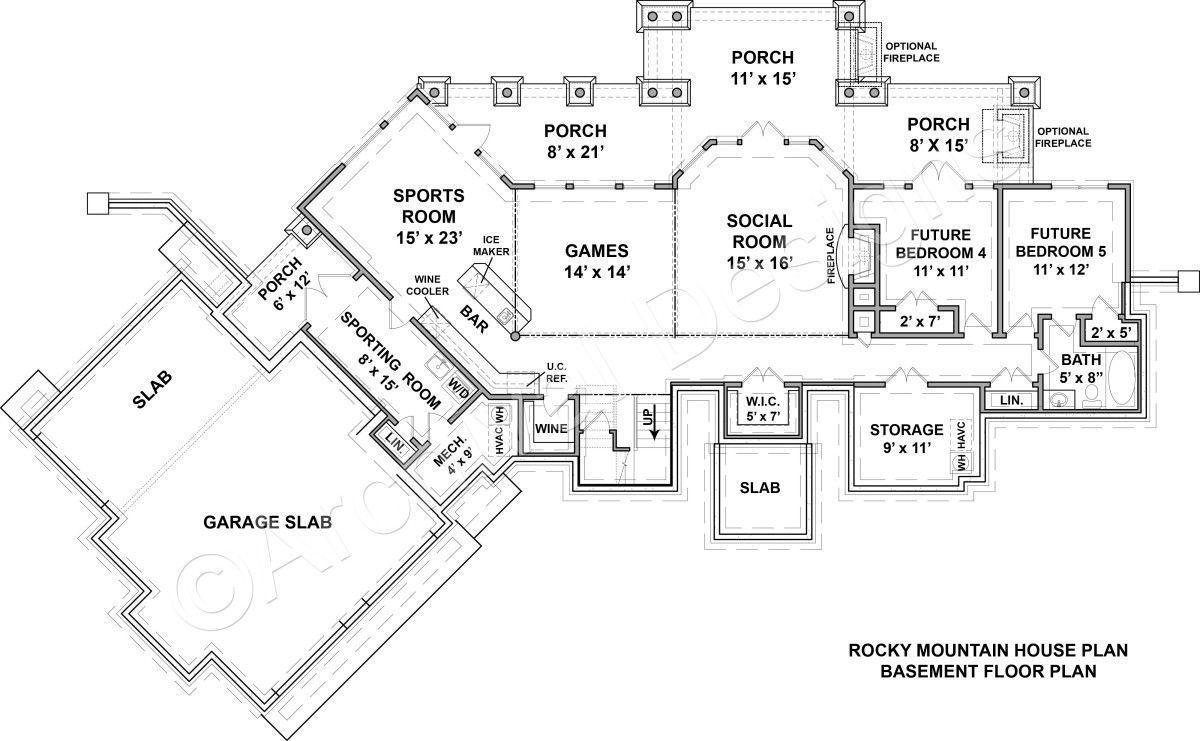 Rocky Mountain Lodge House Plan Rocky Mountain Lodge House Plan Archival Designs Basement Floor Plan Mountain House Plans Mountain Lodge Rustic House Plans