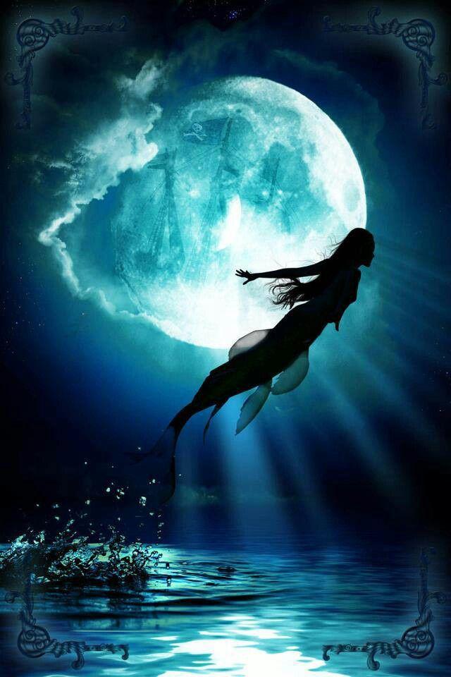 Fée Bleu Pinterest Nuit Sous S'envolant Lune Mermaid Bonne La IxCYIr0nwq
