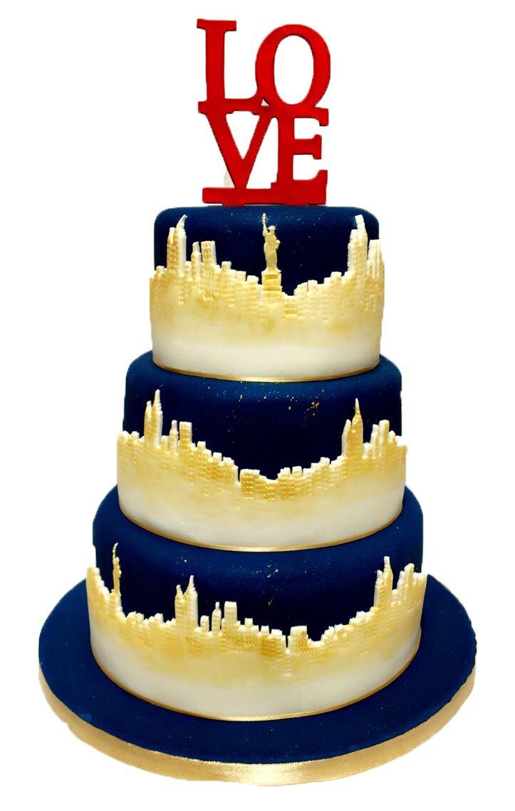 3 Tier Wedding Cake using Patchwork Cutters New York Skyline ...