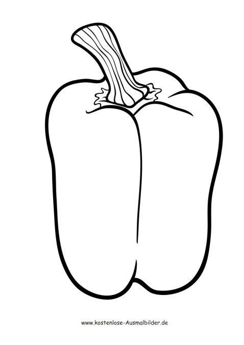 ausmalbilder  malvorlagen gemuese  paprika  ausmalen