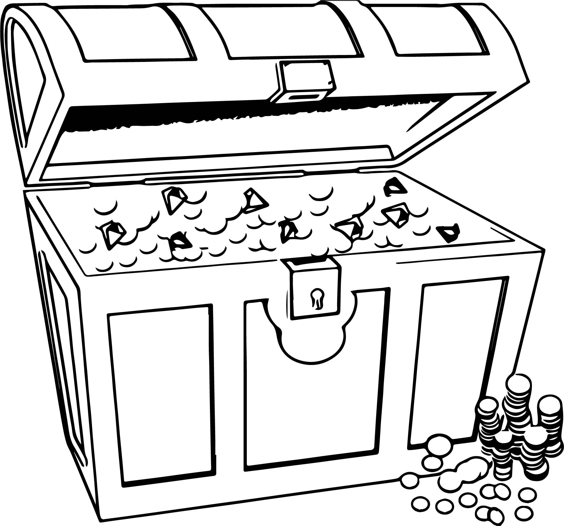 Nice Any Treasur Chest Money Coloring Page Flag Coloring Pages