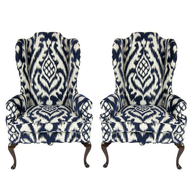 Pair Of High Back Chairs In Navy Amp Creme Love Navy
