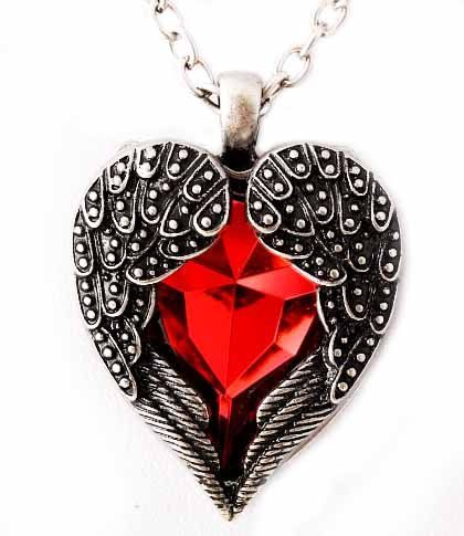 RED CRYSTAL HEARTS angel wing chain necklace choker steampunk statement goth 4Z