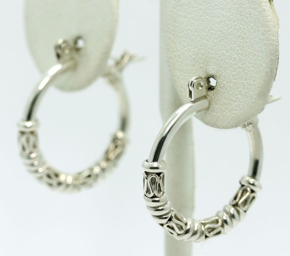 Sterling Silver Bali Twisted Wire Wrapped Hoop Earrings