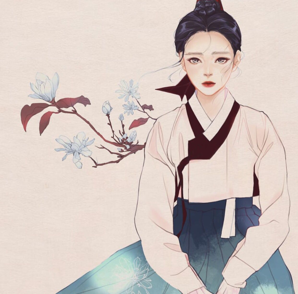 hanbok illustration aesthetic Pinterest