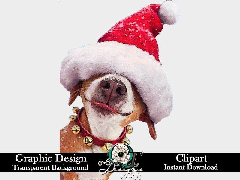 Dog Santa Hat Christmas Graphic Design Clip Art