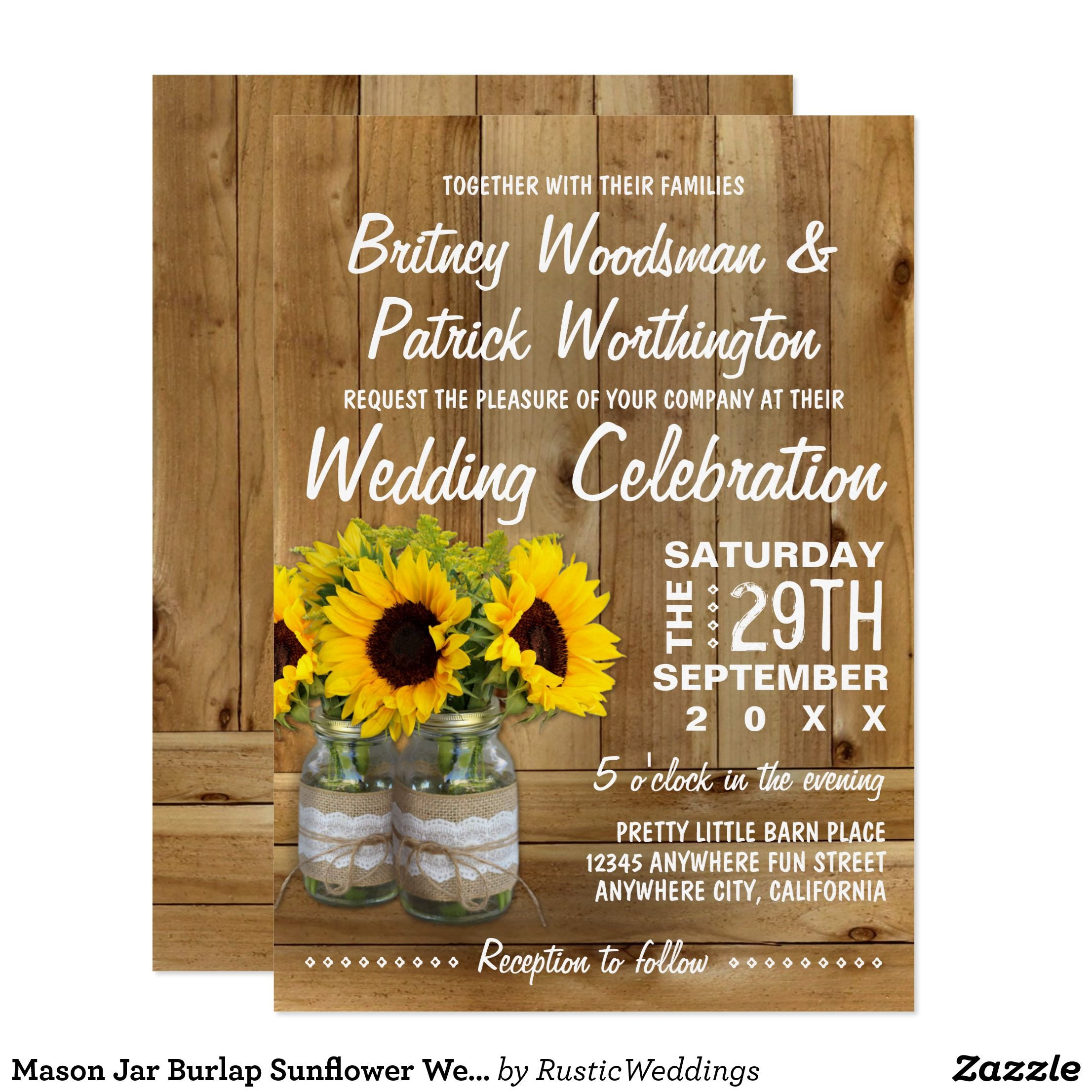 Mason Jar Burlap Sunflower Wedding Invitations Mason Jar Burlap