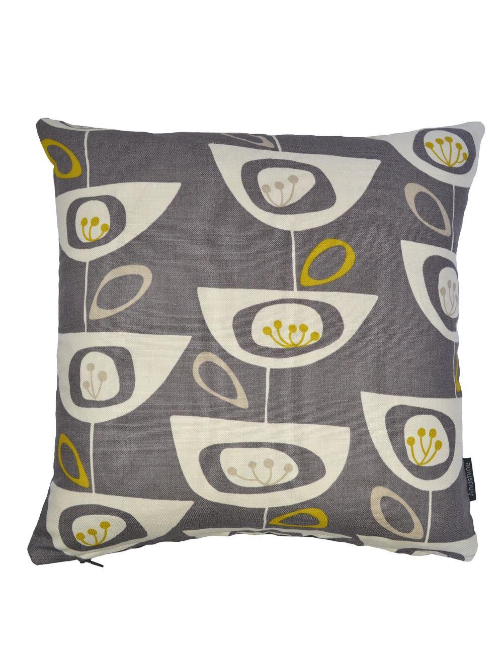 Retro seed head fabric cushion cover steel grey living ue cushion