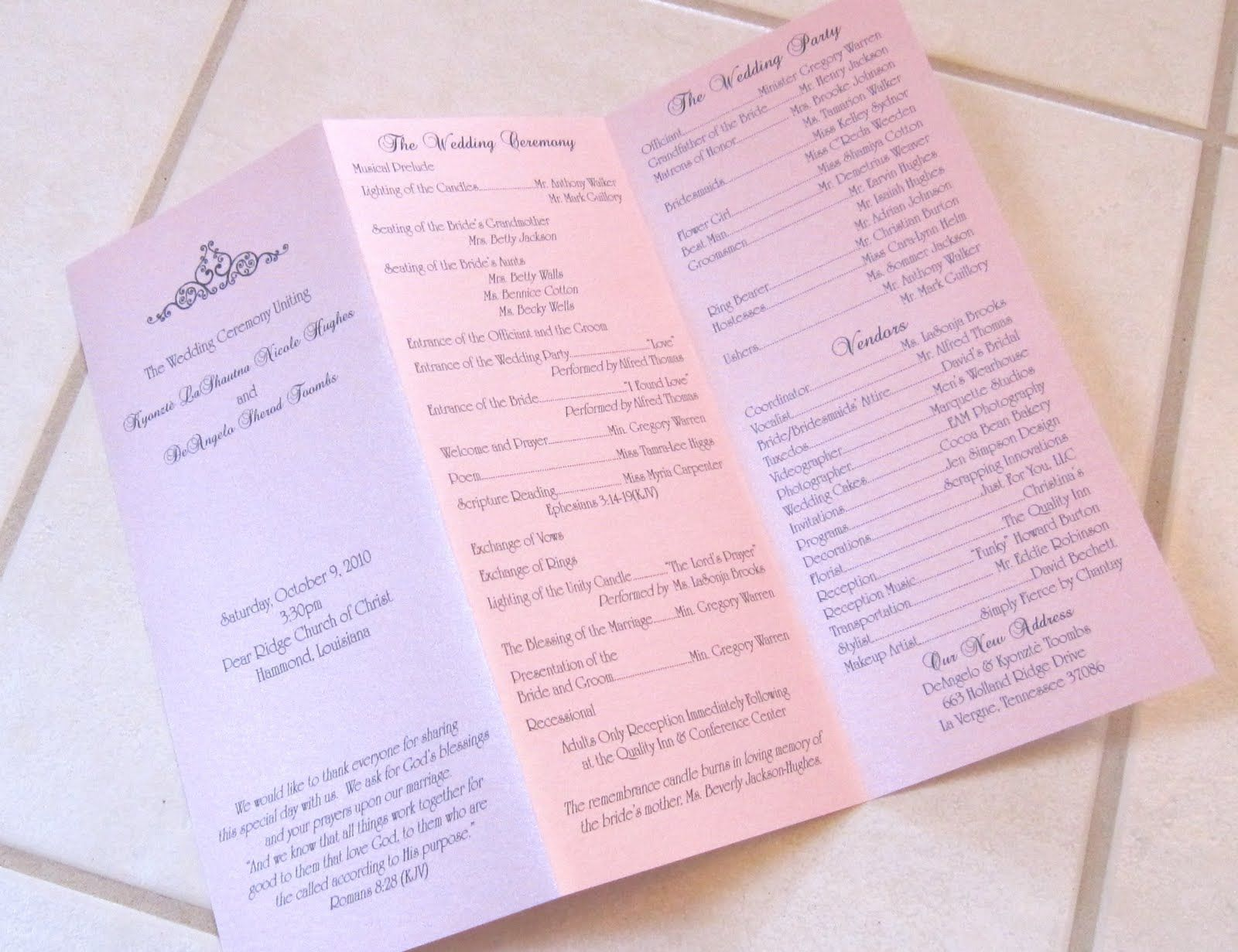 Sample Wedding Programs | Scrapping Innovations: Kyonztè and ...