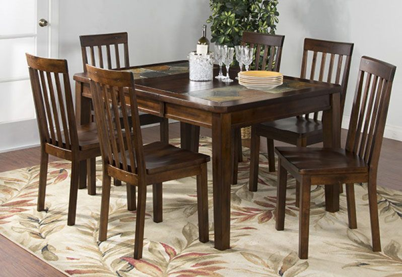 Durango Slate Top Dining Table Set W 6 Chairs Rustic Dining