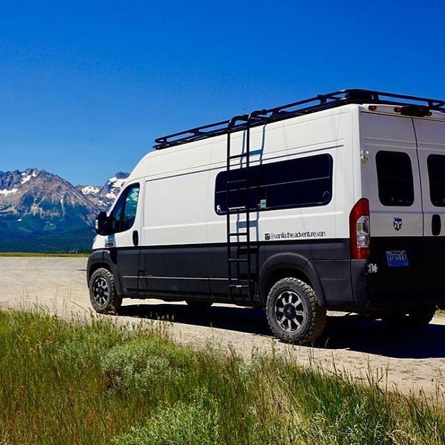 Dodge Promaster Van With Aluminess Roof Rack And Ladder Dodge Camper Van Van Roof Rack