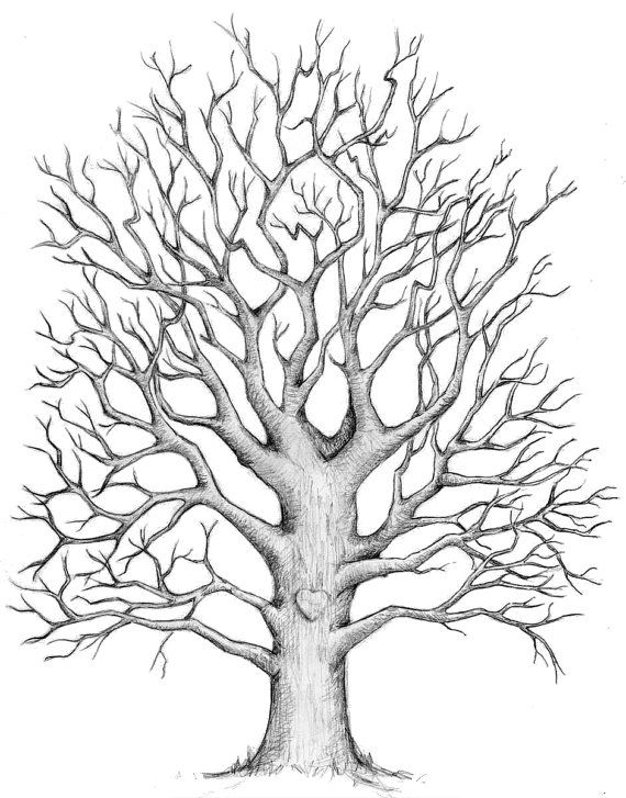 A3 Hand Drawn Oak Fingerprint Tree Kit Wedding By Thepenciltree