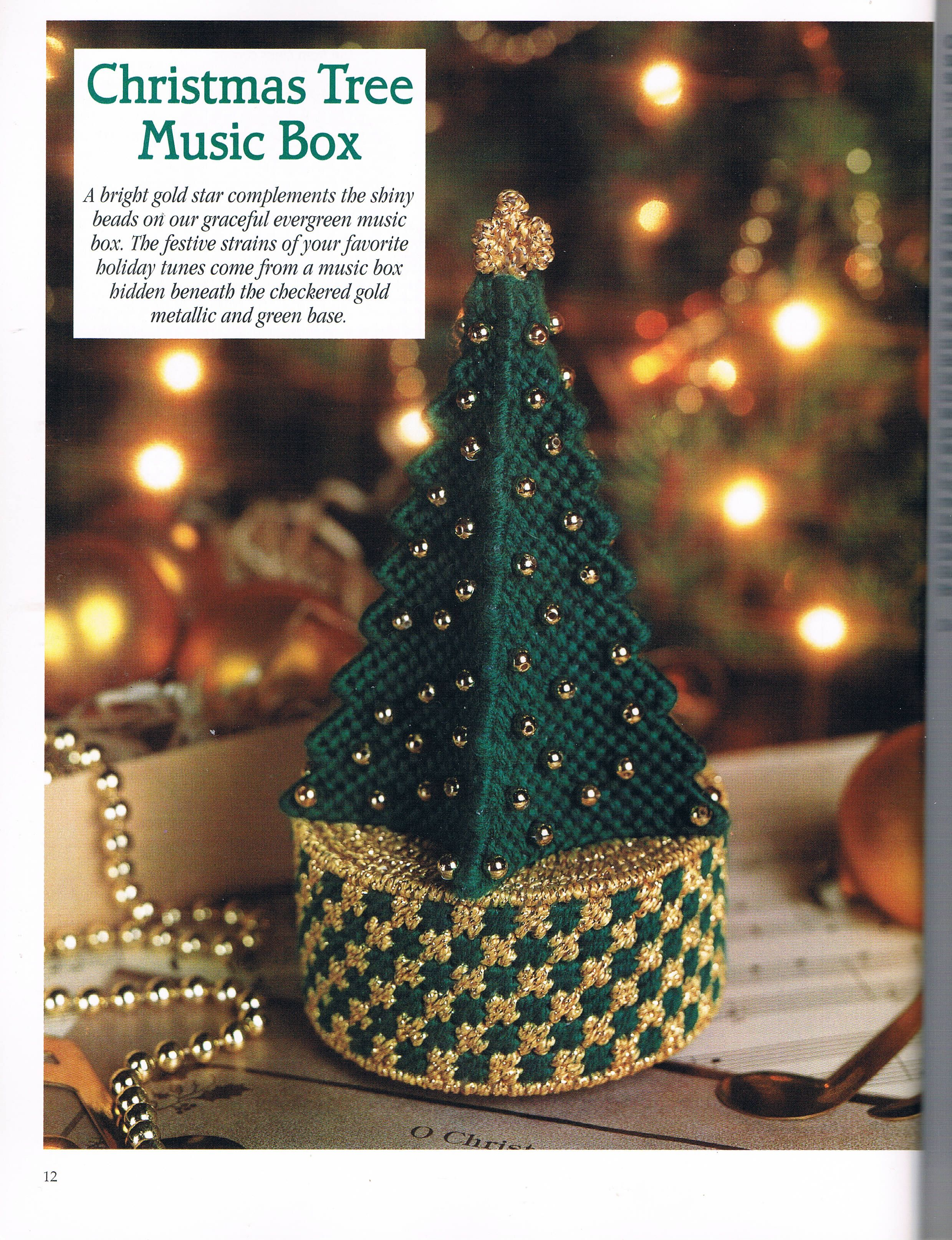 Christmas Tree Music Box By Mary Perry 1 2 From A Festive Christmas In Plastic Canvas Boo Plastic Canvas Christmas Plastic Canvas Crafts Plastic Canvas Books