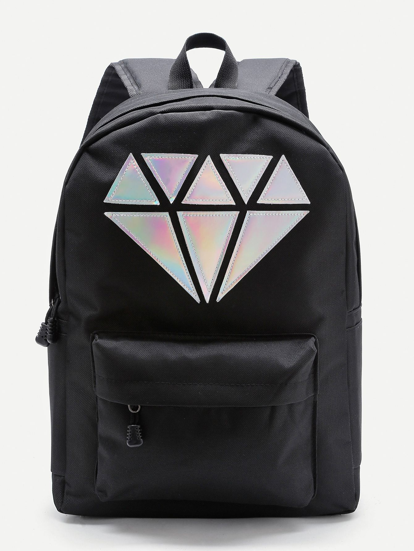 9bf344ae33 Shop Metallic Diamond Patch Pocket Front Backpack online. SheIn offers  Metallic Diamond Patch Pocket Front Backpack & more to fit your fashionable  needs.