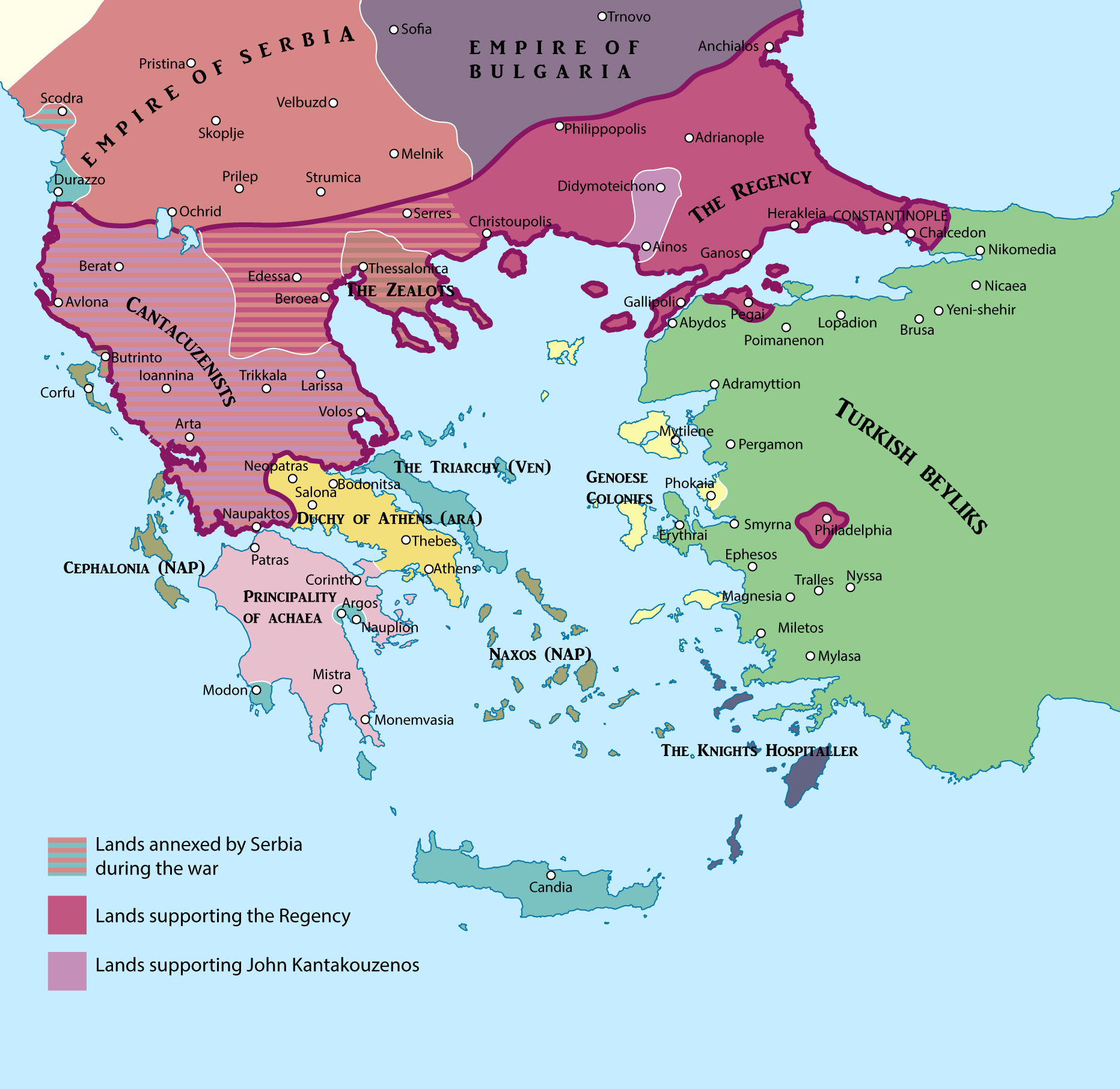 Late Roman Empire Map.The Second Byzantine Civil War 1352 1357 Maps Pinterest