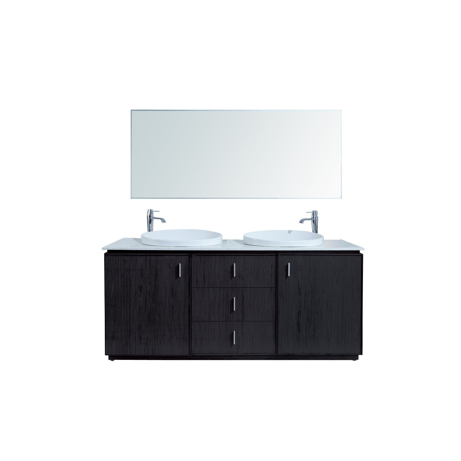 "Stufurhome 72"" Cheshire Double Sink Vanity With Faux Marble Top VM 171"