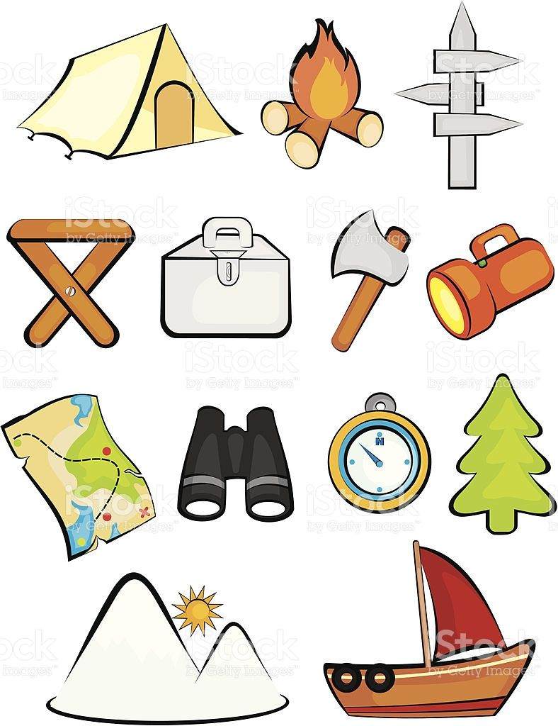 A Set Of Camping And Outdoor Clip Art Its A Vector File Scale It To Camping Clipart Clip Art School Kids Crafts