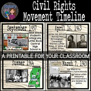 Civil Rights Movement Timeline {A Printable for Your Classroom ...