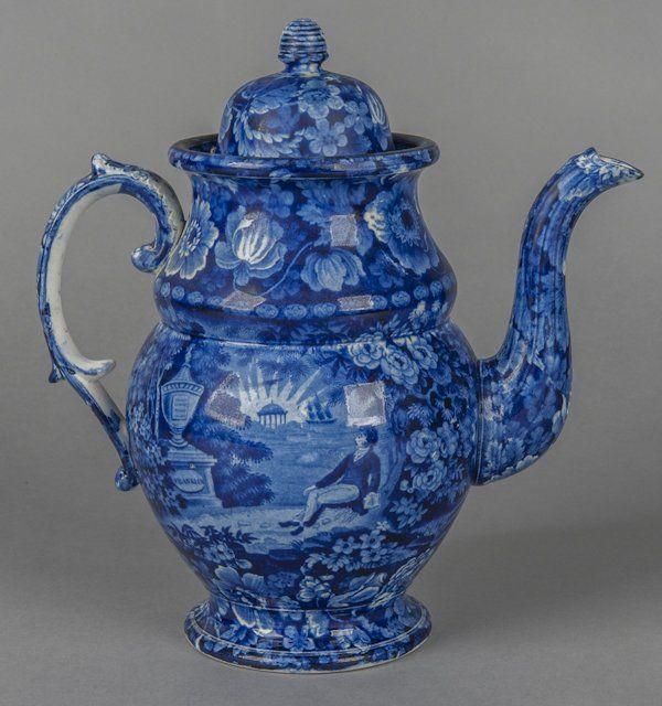 Historical blue Staffordshire Lafayette