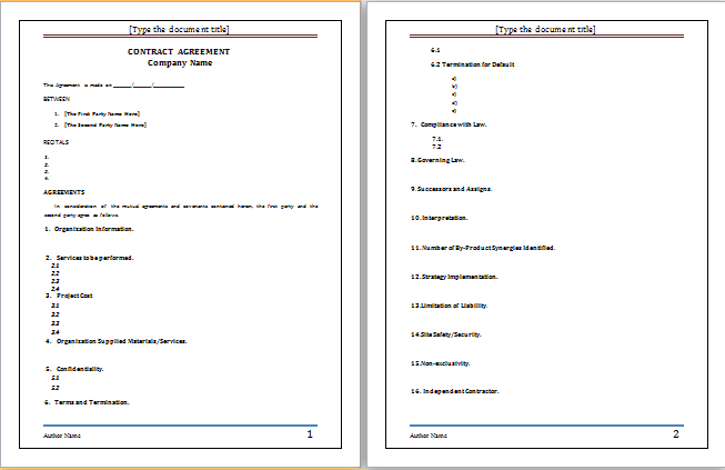 Contract Agreement Template At WorddoxOrg  Microsoft Templates
