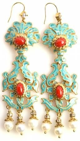Juicy Couture teal & red chandelier earrings   Re-sale Jewelry ...