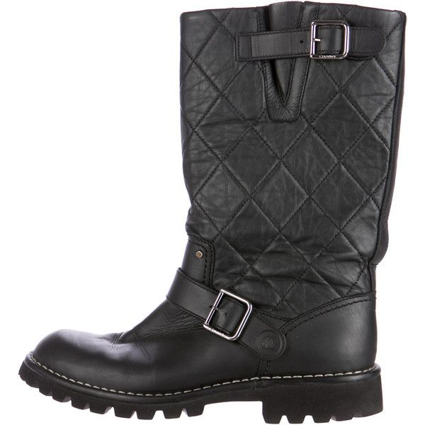 Chanel Quilted Leather Moto Boots ($725) ❤ liked on Polyvore featuring shoes, boots, black, quilted black leather boots, black quilted boots, black shoes, motorcycle boots and moto boots