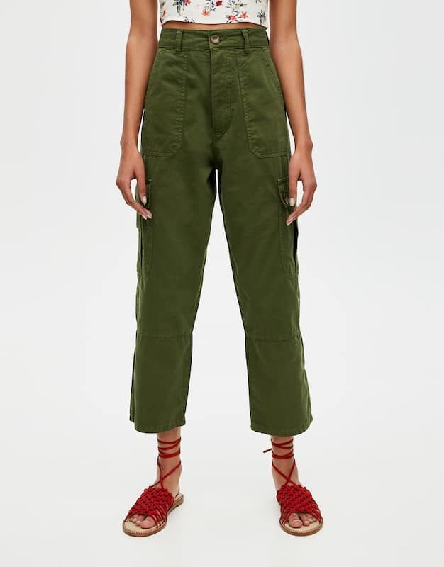 Pantalon cargo kaki - pull&bear | Quần kaki