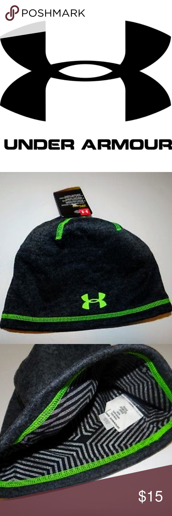 NWT - UNDER ARMOUR STORM 1 Youth BEANIE Gray Under Armour STORM Infrared  Beanie Hat. a5eae72090e