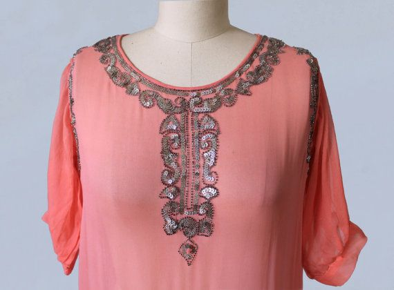 1920s Dress / Pink Sheer Chiffon Beaded and Sequined Flapper Dress by GuermantesVintage