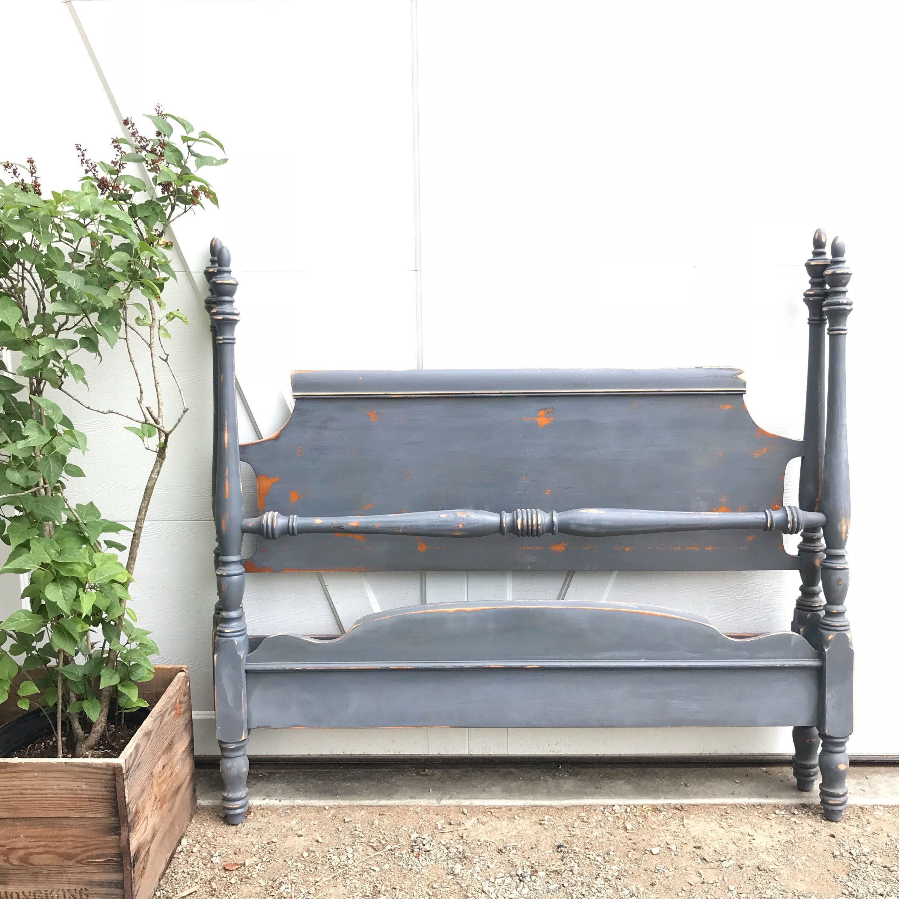 Excited To Share The Latest Addition To My Etsy Shop Full Size Bed Frame Gray Chalk Painted Rustic Distr Full Size Bed Frame Painted Bed Frames Painted Beds