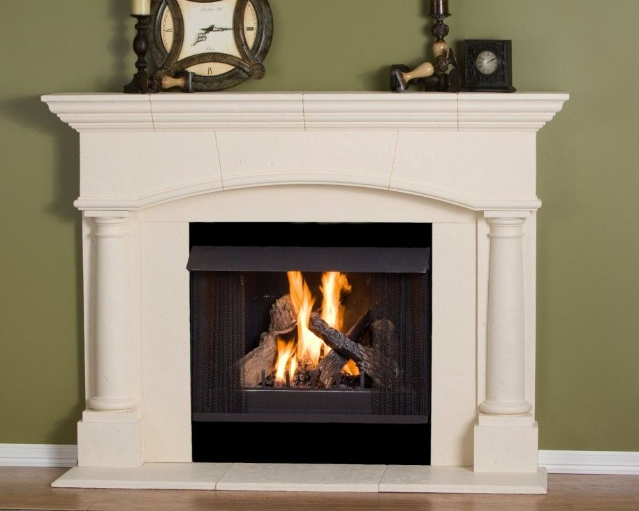 Fireplace Mantel Kits Decoration Ideas For Beautiful Interior: Great Fireplace  Mantel Kits With Unique Clock