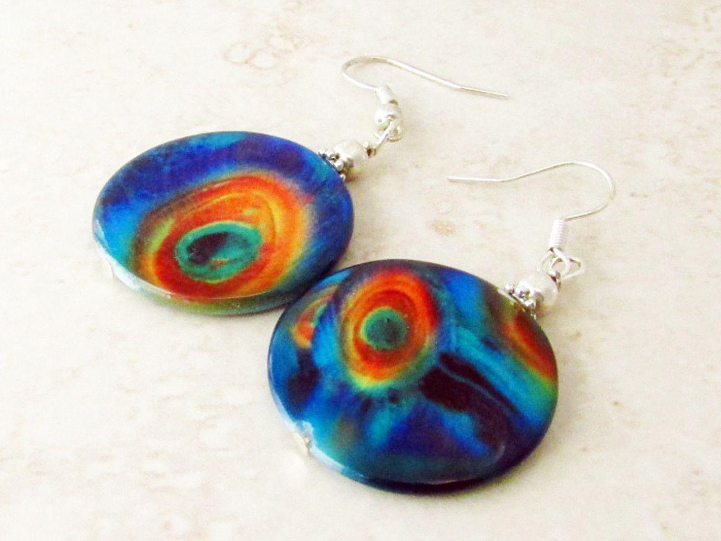 Peacock Earrings, Colorful Earrings, Dangle Earrings, Circle Earrings, Peacock Jewelry