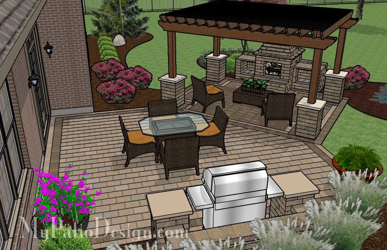 patio with pergola over fireplace area outdoor fireplaces fire pits - Patio Fireplace Designs