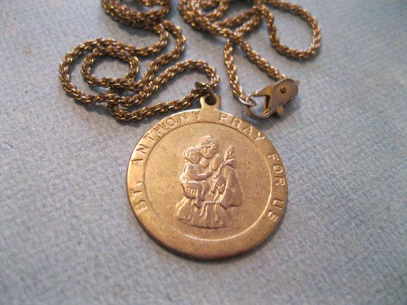 Vintage Religious Catholic Medal St  Anthony Pray for by Suite22