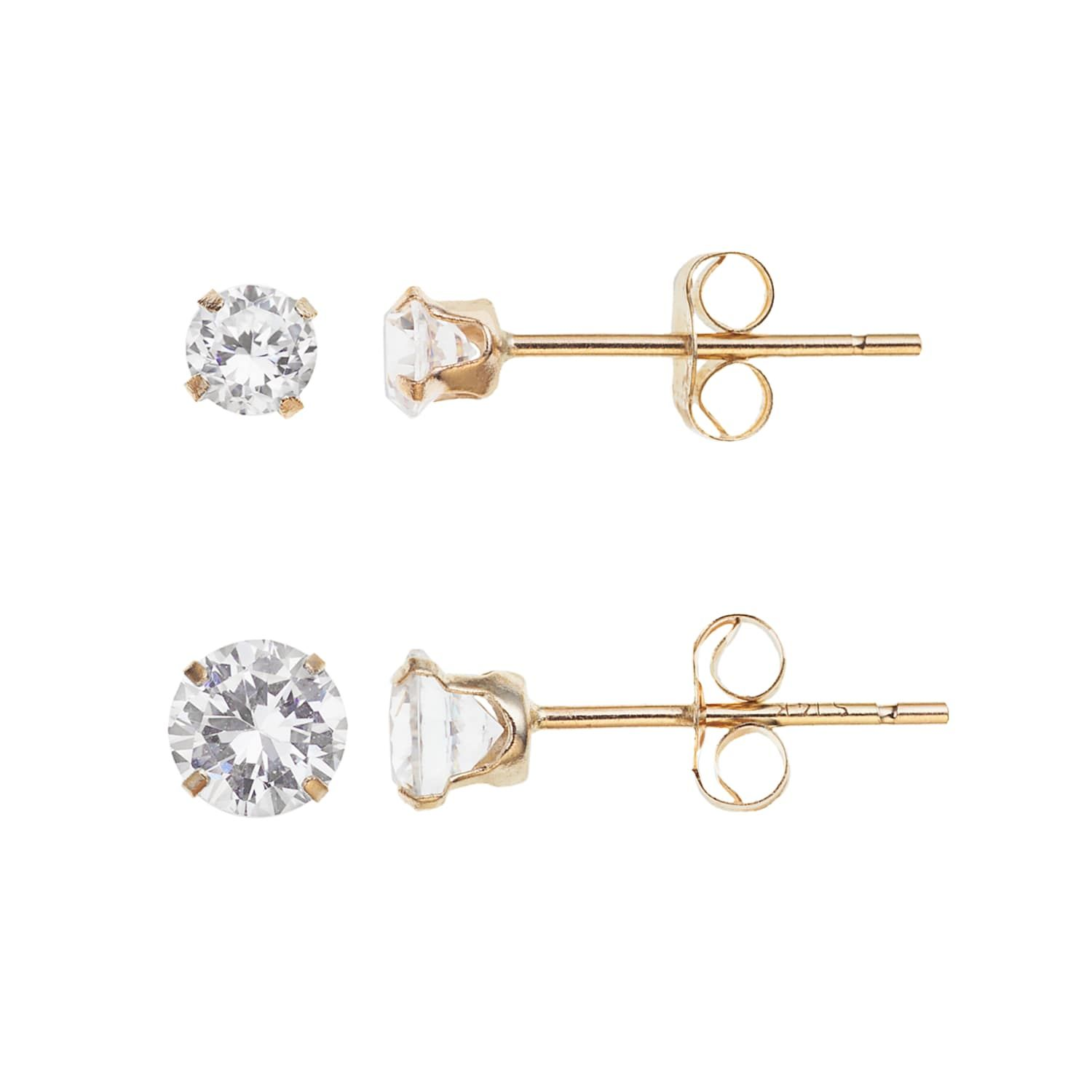 10k Gold Cubic Zirconia Stud Earring Set Stud Earrings Set Stud Earrings Earring Set