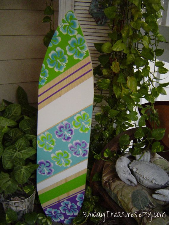 4ft Surfboard All Hand Painted Tropical Hawaiian Wall