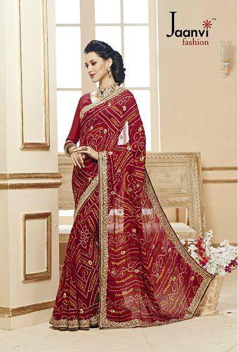 95ad4b9ec48 Jaanvi Fashion Embroidered Bandhani Red Crepe Saree  Amazon.in  Clothing  …