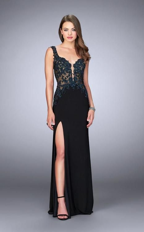 a9f7f4806c1 Buy the Radiant Lace Applique on Fishnet Long Evening Gown 24168 by La Femme  at CoutureCandy.com