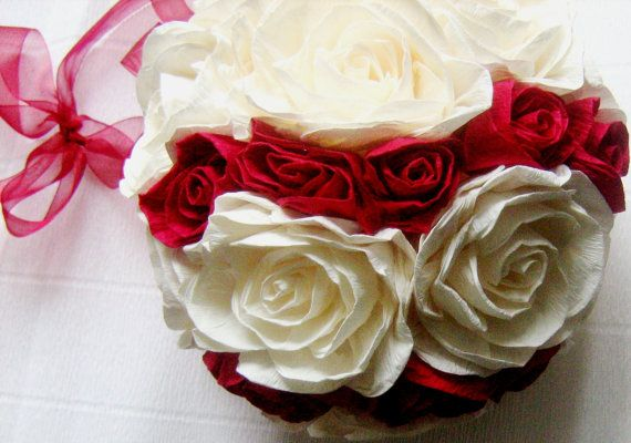 Royal red ivory wedding hanging crepe paper flower ball paper flower royal red ivory wedding hanging crepe paper flower balls mightylinksfo