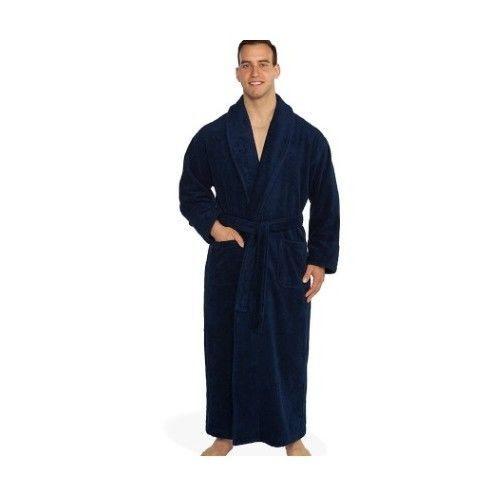EXTRA LARGE TALL MEN S BATHROBE COTTON TURKISH TERRY XL BATH ROBE LONG NAVY  BLUE  turkishtowels  Robes 2a1a9bb9f