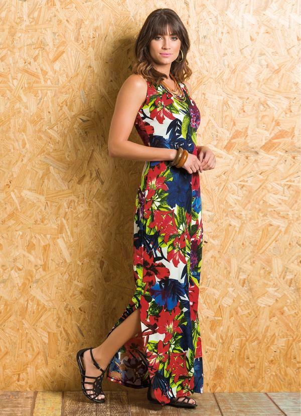 b8d85fd1a Vestido Longo com Fendas e Costas Nadador (Floral) | moldes