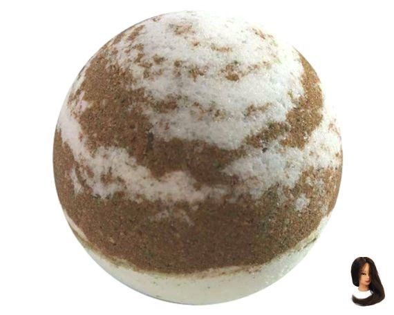 French Vanilla Bath Bomb made with Cocoa Butter and Jojoba Oil. White and Brown Bath Fizzy. Sweet Scent #jojobaoil