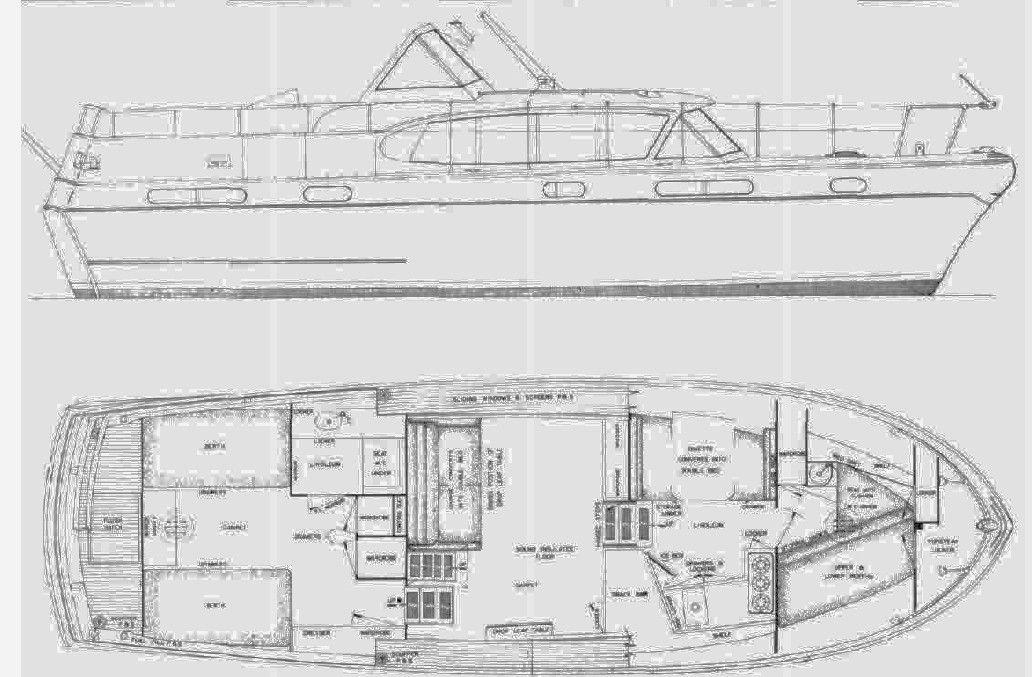 42u0027 Chris Craft Constellation 1950s floorplan Chris Craft Motor - copy blueprint engines bp3501ctc1