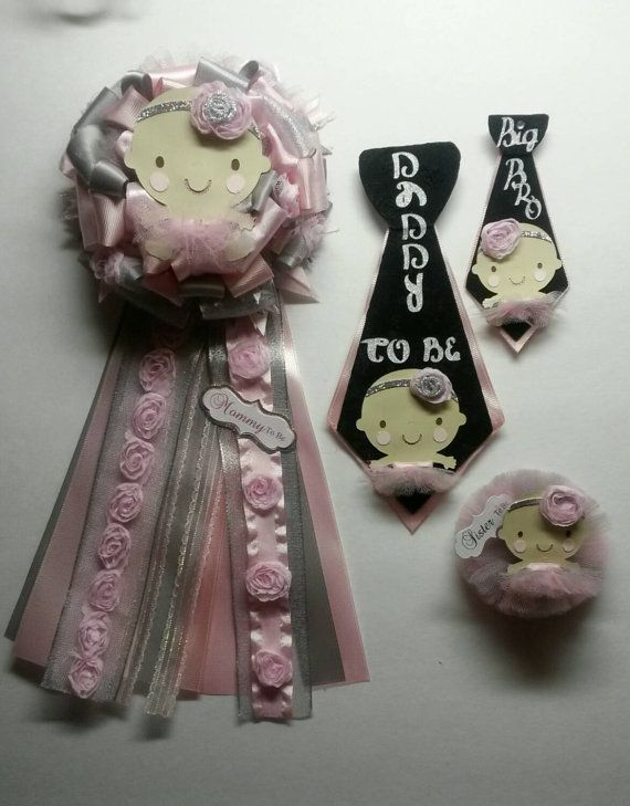 Mommy To Be Ribbon And Daddy To Be Tie Pin Perfect For Co Ed Baby