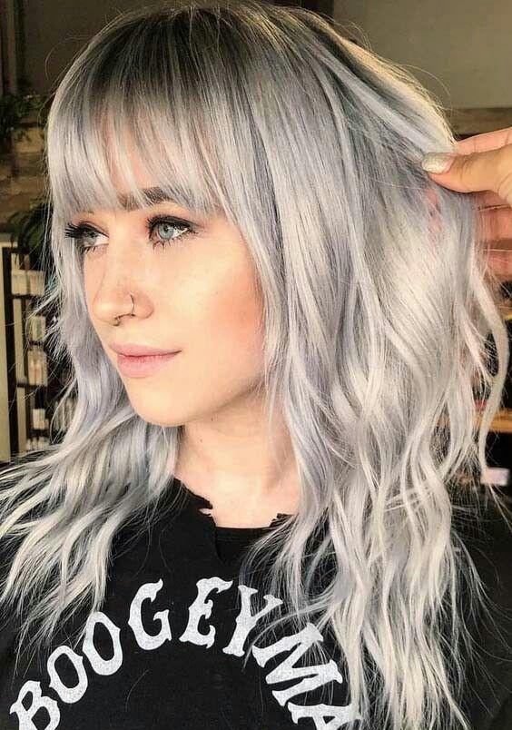Hairstyle With Bangs Medium Length Hair Styles Grey Hair With Bangs Hair Styles