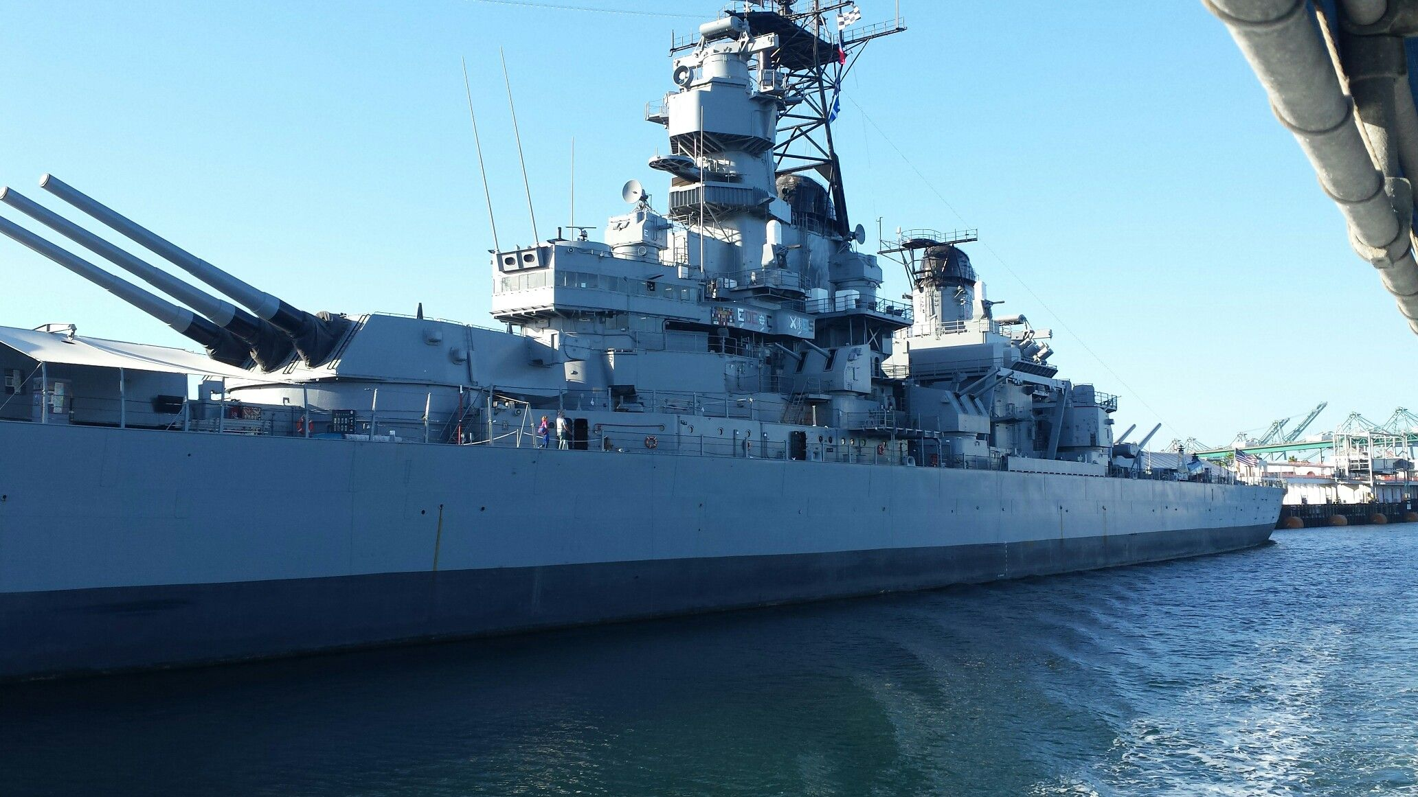 The Uss Iowa At Port Of Los Angeles Near Long Beach Ca
