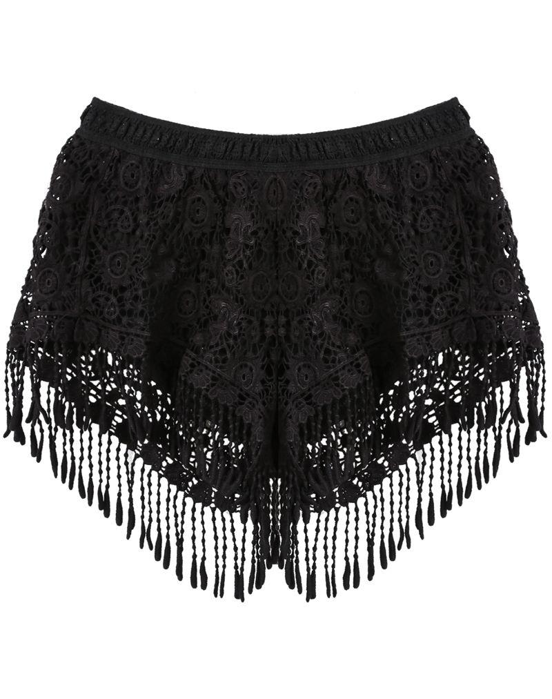 17e05b274e Shorts encaje flecos cintura elástica-negro 18.39
