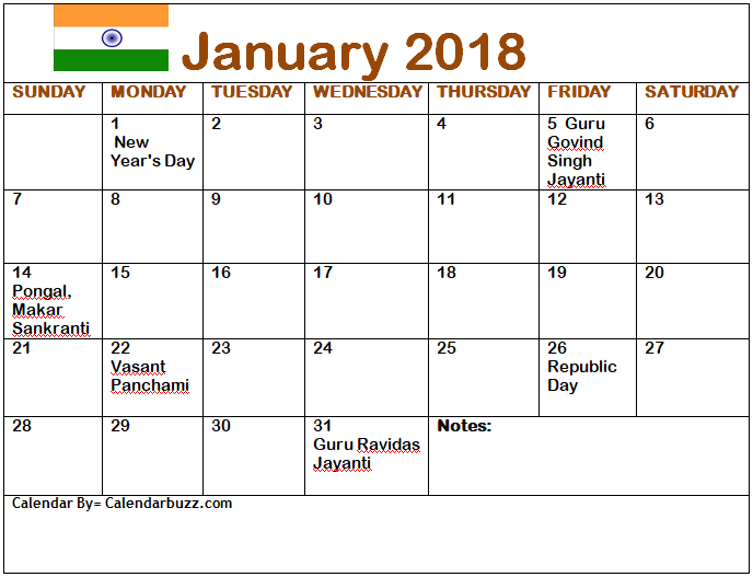 india 2018 january calendar with holidays