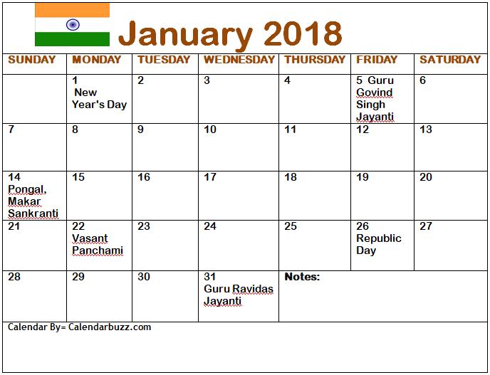 India 2018 January Calendar With Holidays 2018 Calendars